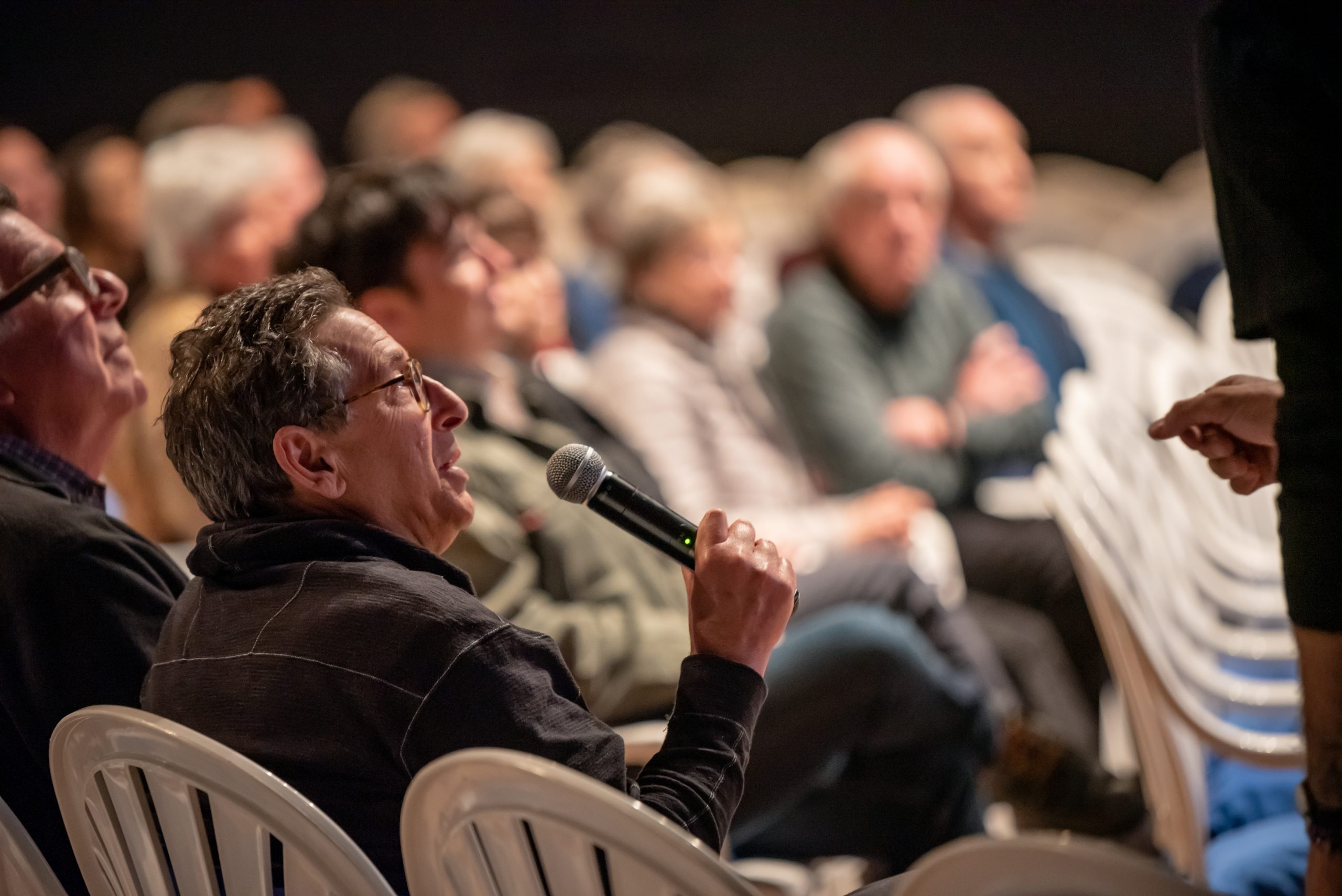 AIFF Audience Member with a Microphone asking a Question in Ashland Oregon