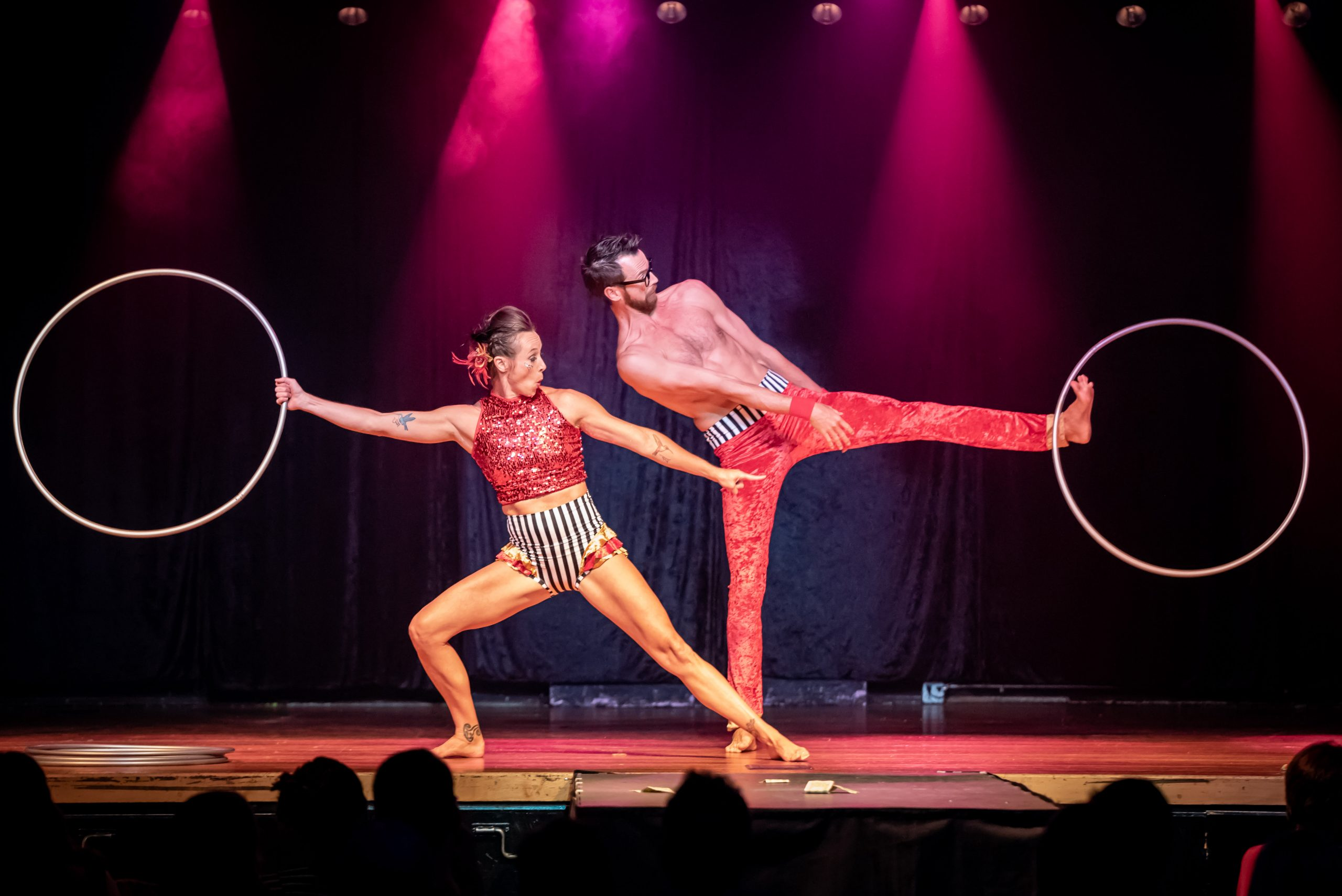 Hoop performance act by two performers at a burlesque show in Ashland Oregon
