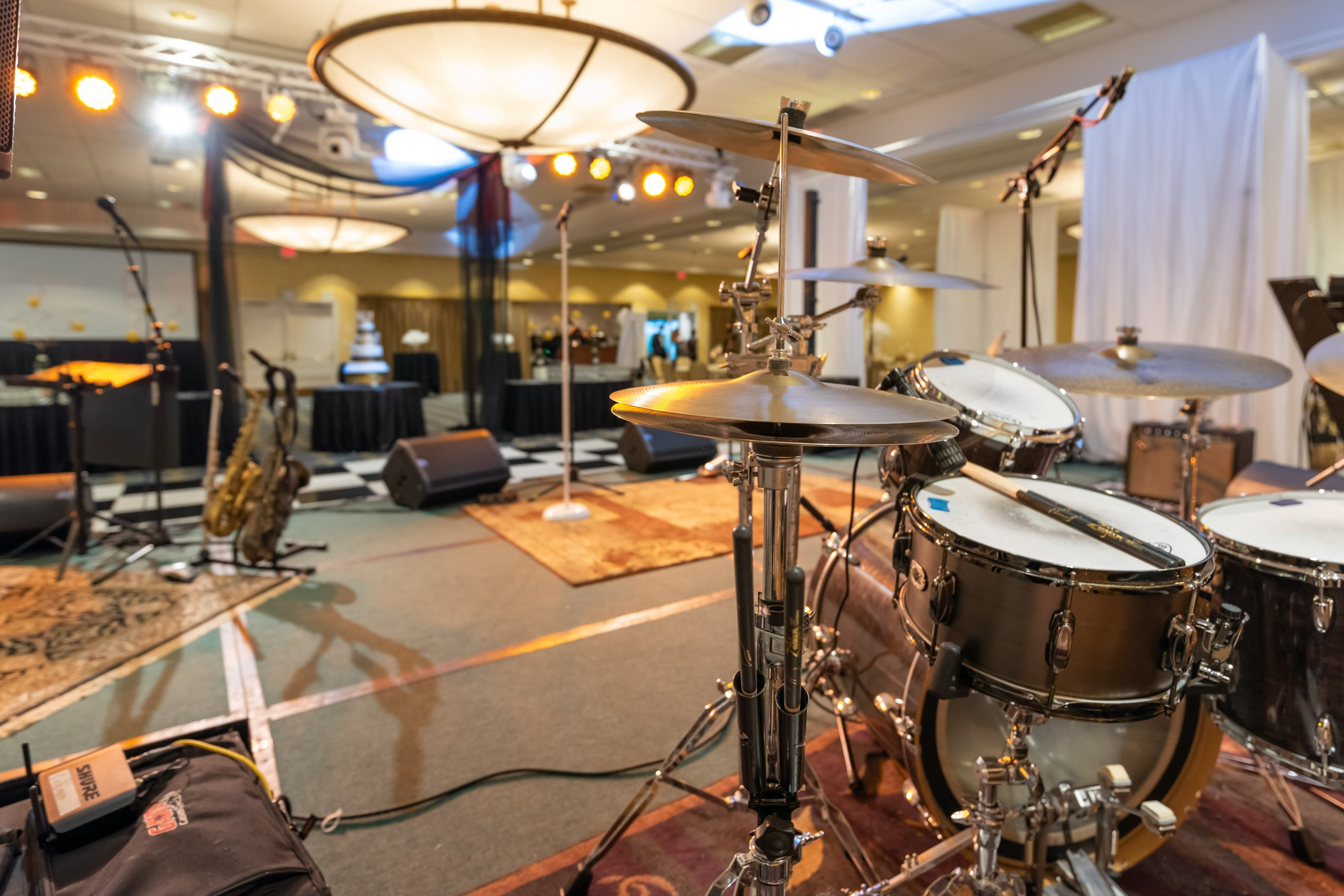 Behind the Stage Music Setup for Medford Chamber Event